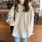 Mock-two Long-sleeve Loose-fit Hooded Top