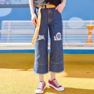 Print Wide-leg Jeans