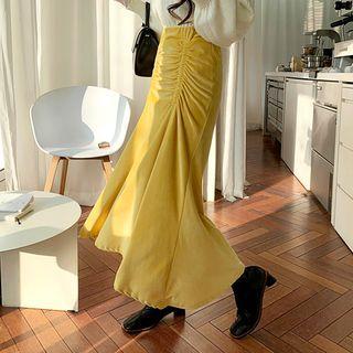 Shirred-front Maxi Velvet Skirt