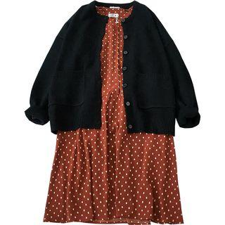 Cardigan / Long-sleeve Dotted Dress