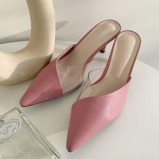 Lucite-detail Pointy Mules