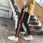 Contrast-stripe Cuffed Cotton Pants