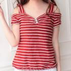 Cutout Shoulder Stripe Knit Top