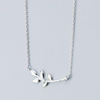 925 Sterling Silver Rhinestone Branches Pendant Necklace S925 Silver - Necklace - One Size