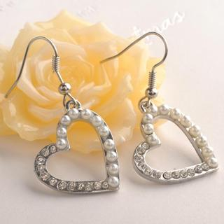 Pearl Heart Drop Earrings White - One Size