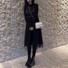 Mesh-overlay Sleeveless Dress