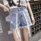 Lace-up Ripped Denim Shorts