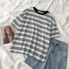Short-sleeve Striped T-shirt Stripes - Blue & White - One Size