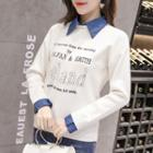 Letter Long-sleeve Collared Top