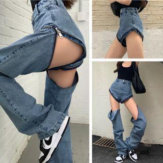 Plain Tank Top / High-waist Zip Reversible Jeans