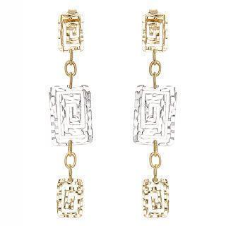 18k White & Yellow Gold Dangling Earrings