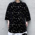 3/4-sleeve Star Print Velvet T-shirt
