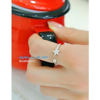 Rhinestone Star Silver Ring