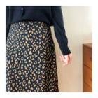 Leopard A-line Maxi Skirt Navy Blue - One Size