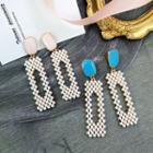 Faux Pearl Rectangle Dangle Earring