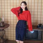 Stitched Denim H-line Skirt