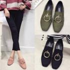 Buckled Faux-suede Flat Loafers