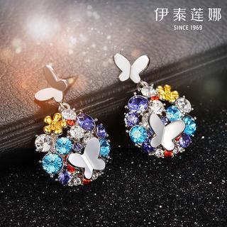 925 Silver Swarovski Elements Crystal Butterfly Drop Earrings