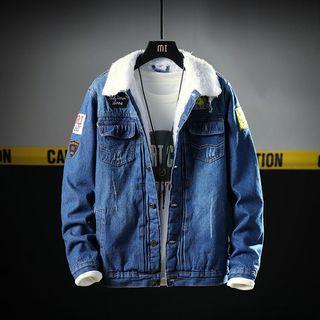 Fleece-lined Patched Denim Jacket