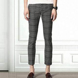 Plaid Cropped Slim Fit Pants