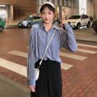 Long Sleeve Striped Velvet Shirt