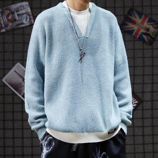 Mock Two-piece Rib Knit Sweater