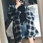 Oversized Plaid Long T-shirt