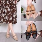 Faux Pearl Bow Pointed Flats