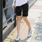 Banded-waist Paint-splattered Shorts