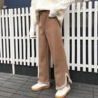 Furry-trim Tweed Pants