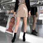 Stitched Patent A-line Miniskirt