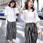 Set: Elbow-sleeve Open Placket Blouse + Striped Wide-leg Pants