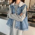 Hoodie Dress / Denim Vest