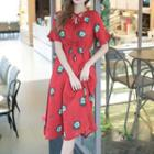 Print Frill Sleeve Chiffon Dress