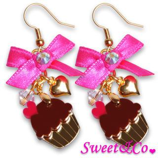 Sweet&co Ribbon Mini Cupcake Crystal Earrings Gold - One Size