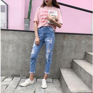 Distressed Lettering Cropped Jeans