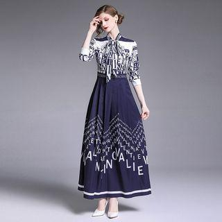 Lettering Tie-neck Long-sleeve A-line Maxi Dress