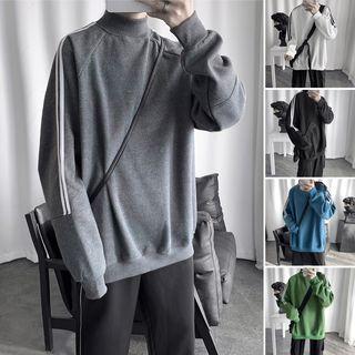 Mock-turtleneck Striped-side Pullover