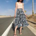 Asymmetrical Patterned Midi Chiffon Skirt