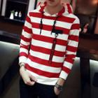 Lettering Strap Striped Hoodie