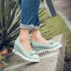 Bow Accent Wedge Loafer Pumps