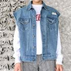 Distressed Buttoned Denim Vest Blue - One Size