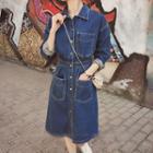 Long-sleeve Midi Denim Shirt Dress