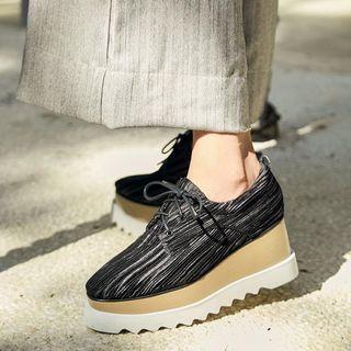 Striped Platform Lace-up Shoes