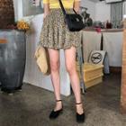 Frill-trim Floral Miniskirt
