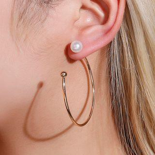 Faux Pearl Hook Earring 01-7599 - Gold - One Size