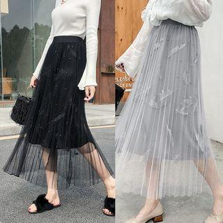 Pleated A-line Mesh Skirt