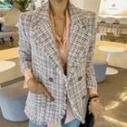 Fringed Plaid Tweed Blazer Pink - One Size