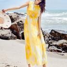 Printed Midi Sleeveless Chiffon Dress