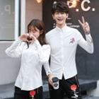 Couple Matching Flower Embroidered Shirt